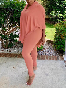 Solid Slit Top & Leggings Set