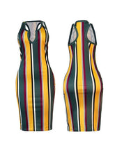Load image into Gallery viewer, Stripe Deep V Bodycon Dress