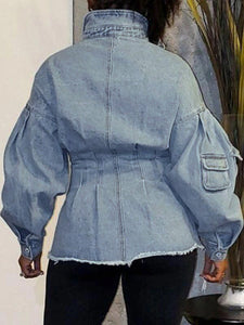 Gathered-Waist Denim Jacket