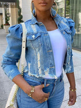 Load image into Gallery viewer, Distressed Puff-Sleeve Denim Jacket