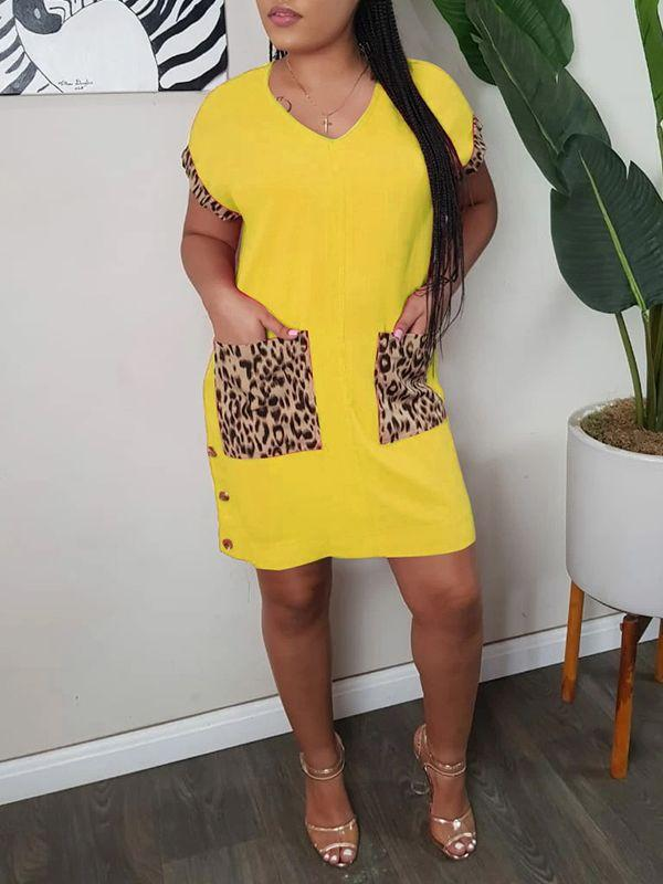 Leopard-Combo Button-Side Dress - Only Yellow / L Left