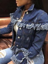 Load image into Gallery viewer, Distressed Denim Western Jacket