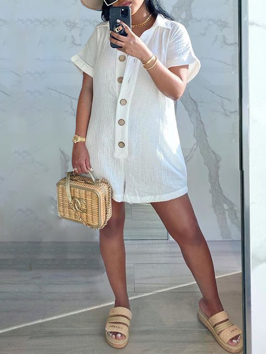 Solid Button-Front Romper - only White / XL left