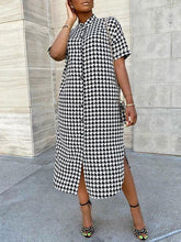 Load image into Gallery viewer, Houndstooth Shirt Dress