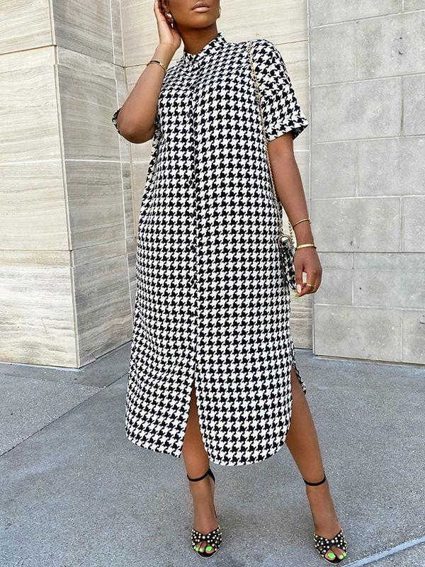 Houndstooth Shirt Dress