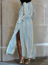 Load image into Gallery viewer, Stripe Slit Shirt Dress