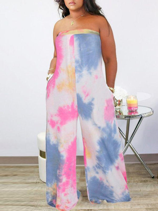 Multicolor Bandeau Wide-Leg Jumpsuit