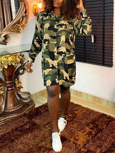 Load image into Gallery viewer, Camouflage Shirt Dress