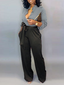 Mandarin-Collar Shirt & Belted Pants Set