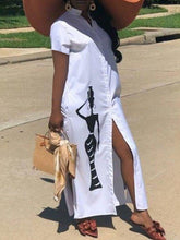 Load image into Gallery viewer, African Beauty Slit Shirt Dress