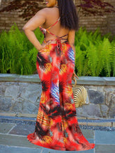 Load image into Gallery viewer, Palm Printed Lacing Back Maxi Dress