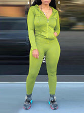 Load image into Gallery viewer, Plain Zip-Front Hoodie & Pants Set