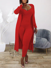 Load image into Gallery viewer, Ribbed Jumpsuit & Cardigan Set