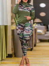 Load image into Gallery viewer, Camo Zip Top & Pants Set