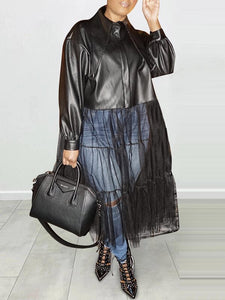 Tulle-Combo Faux-Leather Jacket