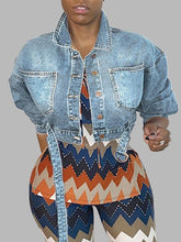 Load image into Gallery viewer, Belted Cropped Denim Jacket
