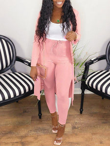 Solid Ribbed Cardigan & Pants Set