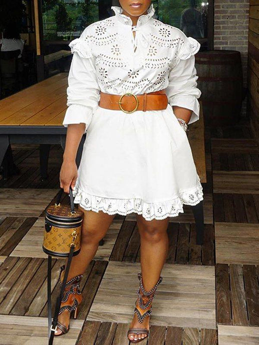 White Frilled Lace Dress