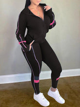 Load image into Gallery viewer, Colorblock Zip-Front Hoodie & Pants Set
