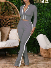 Load image into Gallery viewer, Zip-Front Jacket & Side-Stripe Pants Set