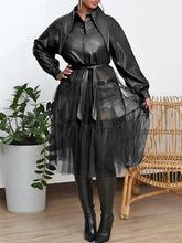 Load image into Gallery viewer, Tulle-Combo Faux-Leather Jacket