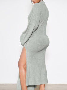 Mock Neck Tie-front Dress