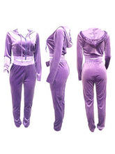 Load image into Gallery viewer, Velvet Zip-Front Hoodie & Pants Set