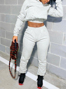 Solid Hoodie & Lace-Up Pants Set