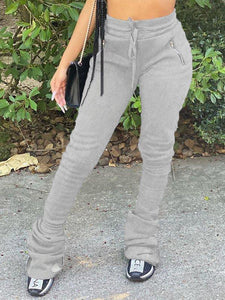 Zip-Pocket Stacked Pants
