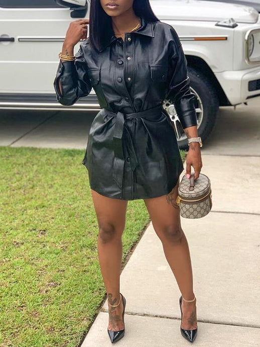 Faux-Leather Belted Shirt Dress