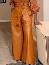 Load image into Gallery viewer, Faux-Leather Wide-Leg Belted Pants
