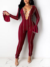 Load image into Gallery viewer, Lace-Up Bell-Sleeve Jumpsuit