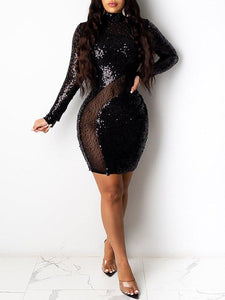 Sheer Combo Sequin Dress