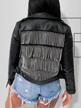 Load image into Gallery viewer, Tassel-Back Faux-Leather Jacket