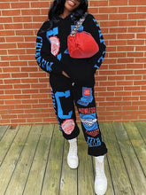 Load image into Gallery viewer, Print Hoodie & Jogger Pants Set