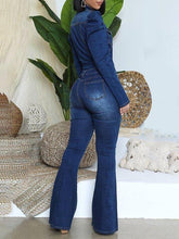 Load image into Gallery viewer, Puff-Sleeve Flared-Leg Denim Jumpsuit