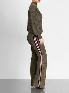 Gleam Mock Neck Top & Side-Stripe Pants Set