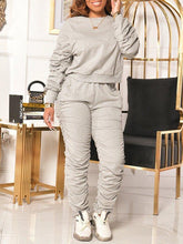 Load image into Gallery viewer, Solid Ruched Sweatshirt & Pants Set