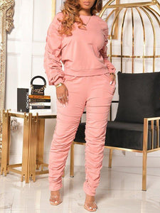 Solid Ruched Sweatshirt & Pants Set