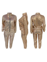 Load image into Gallery viewer, Sequin Zip-Front Jacket & Pants Set