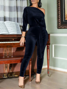 Velvet Off-Shoulder Jumpsuit