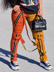 Plaid Zip-Front Tied-Knee Pants