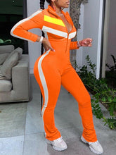 Load image into Gallery viewer, Colorblock Zip-Front Jumpsuit