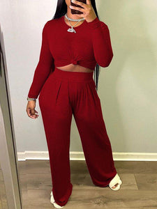 Solid Top & Wide-Leg Pants Set