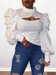 Puff-Sleeve Cutout Top