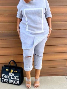 Side-Slit Sweatshirt & Ripped Pants Set