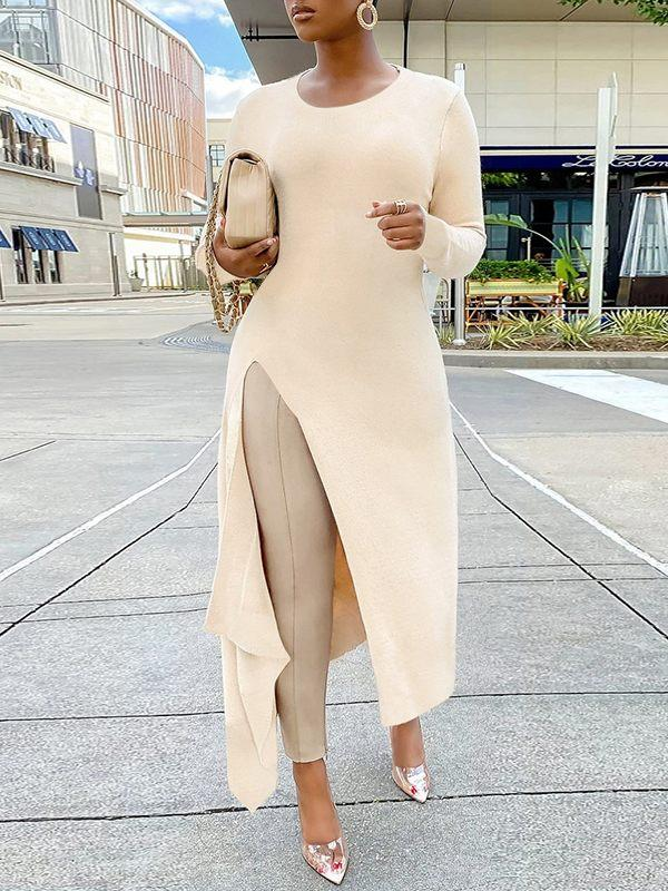 Solid Ribbed Slit Tunic