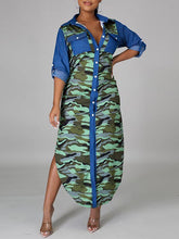 Load image into Gallery viewer, Denim Combo Camo Shirt Dress