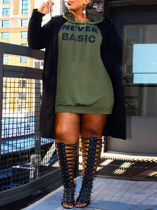 Plus Size Slogan Hoodie Dress