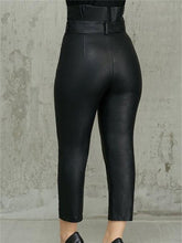 Load image into Gallery viewer, High Waist PU Pants With Belt (1504461193261)